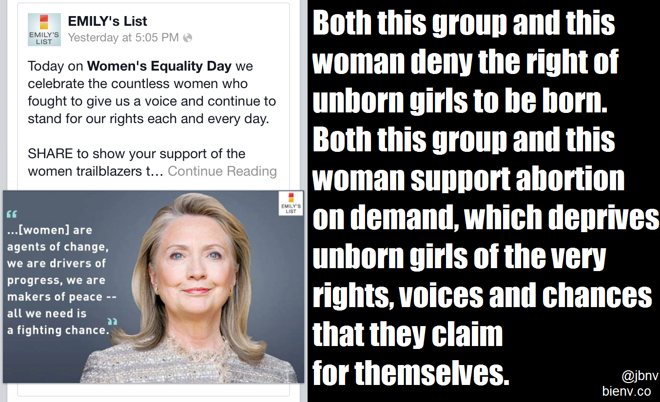 Abortion Hypocrisy: EMILY's List and Hillary Clinton